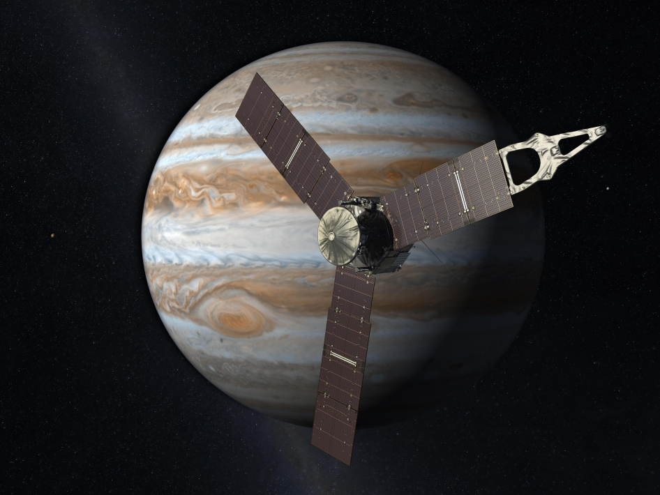 Montage of Juno probe and Jupiter (NASA)